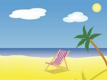 Deckchair op strand Stock Illustratie