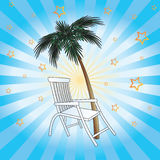 Deckchair and palm. Royalty Free Stock Image