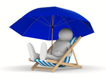 Deckchair and parasol on white background Royalty Free Stock Image