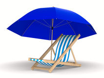 Deckchair and parasol on white background Stock Photos