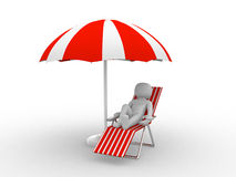 Deckchair and parasol on white background Royalty Free Stock Images