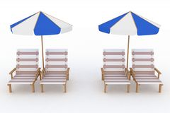 Deckchair and parasol on white background Stock Photography