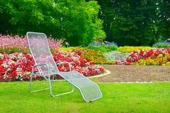 Deckchair in park Stock Photo