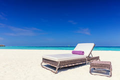 Deckchair on sandy tropical beacha a small island resort in Maldives, Indian Ocean Stock Image
