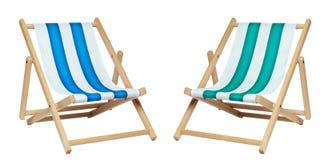 Deckchair twee (met het knippen van weg) Royalty-vrije Stock Afbeeldingen