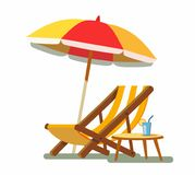 Deckchair and umbrella on the beach. Vector illustration Stock Images