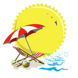 Deckchair and umbrella Royalty Free Stock Images