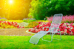 Deckchair w parkowym następnym kwiatu łóżku zdjęcie royalty free
