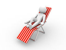 Deckchair on white background Royalty Free Stock Image