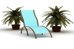 Deckchair on a white background. Stock Image