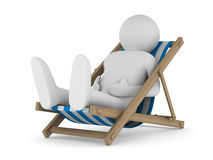 Deckchair on white background. Isolated 3D Royalty Free Stock Photography