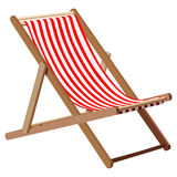 Deckchair. Wooden chaise lounge on a white background Stock Images