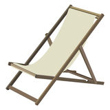 Deckchair. Wooden chaise lounge on a white background Royalty Free Stock Photo
