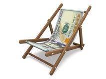 Deckchair z dolarowym banknotem Obraz Stock