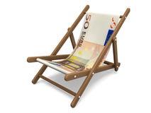 Deckchair z euro banknotem Zdjęcie Royalty Free