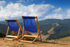 2 deckchairs в горе Стоковое Изображение RF