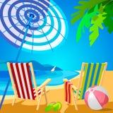 海滩deckchairs热带二 拖鞋和球 在艺术装饰的海报 免版税图库摄影
