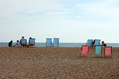 Deckchairs on the Beach Stock Photography