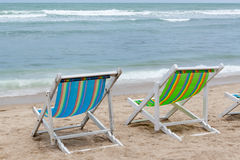 Deckchairs on the beach Royalty Free Stock Images