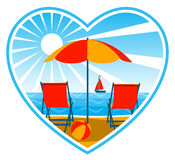 Deckchairs on beach in heart royalty free illustration