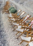 Deckchairs on the beach of Nice Royalty Free Stock Photography