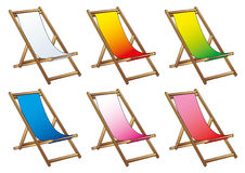 Deckchairs for beach and relax Stock Images