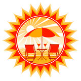 Deckchairs on beach in sun royalty free illustration