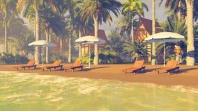 Deckchairs e parasóis em uma praia tropical arenosa imagens de stock