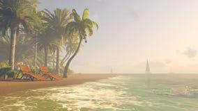 Deckchairs em uma praia tropical no por do sol foto de stock