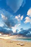 Deckchairs en la playa Fotografía de archivo libre de regalías