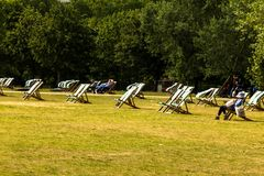 Deckchairs For Hire In Hyde Park. Westminster. London. England. Royalty Free Stock Photo
