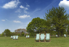 Deckchairs in Hyde Park, London Stockfotografie