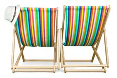 Deckchairs isolated on a white background stock image