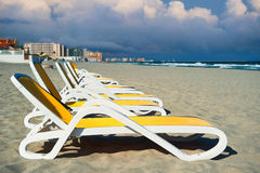 Deckchairs in La manga seaside Stock Images