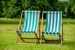 Deckchairs. London, England Royalty Free Stock Photo