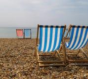 Deckchairs op het Strand van Brighton. Royalty-vrije Stock Fotografie