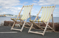 Deckchairs in Paignton Devon Stock Images