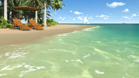 Deckchairs and parasol on empty tropical beach. Realistic 3d animation of sandy tropical beach with deckchairs and parasol on foreground and with sailing boats stock footage