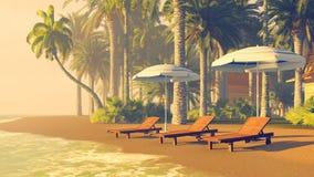 Deckchairs and parasols on a cozy tropical beach Stock Photos