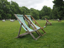 Deckchairs in a park Stock Image