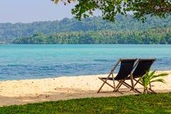 Deckchairs on the sand - Espiritu Santo Stock Photography
