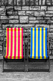 Deckchairs in seaside town Royalty Free Stock Image