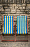 Deckchairs in seaside town Royalty Free Stock Photography