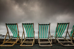 Deckchairs in seaside town Royalty Free Stock Photo