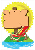 Deckchairs and signboard royalty free illustration