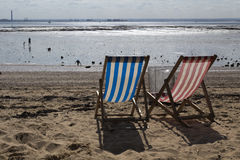 Deckchairs at Southend-on-Sea, Essex, England. On a summers day Stock Image