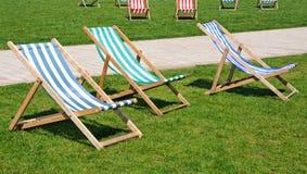 Deckchairs, Stratford-upon-Avon. stock image