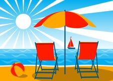 Deckchairs sulla spiaggia illustrazione vettoriale