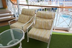 Deckchairs on sundeck of the cruise ship Royalty Free Stock Photo