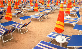 Deckchairs and umbrellas Royalty Free Stock Photography